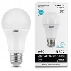 Лампа LED A60 20W E27 6500K Gauss Elementary - фото 10409