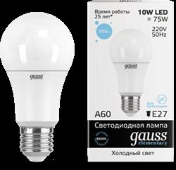 Лампа Gauss LED Elementary A60 10W E27 6500K - фото 10417