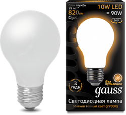 Лампа Gauss LED Filament A60 OPAL E27 10W 2700К - фото 10421