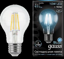 Лампа Gauss LED Filament A60 E27 10W 4100К - фото 10423