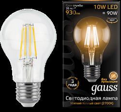 Лампа Gauss LED Filament A60 E27 10W 2700К - фото 10425