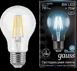Лампа Gauss LED Filament A60 E27 8W 2700К - фото 10429