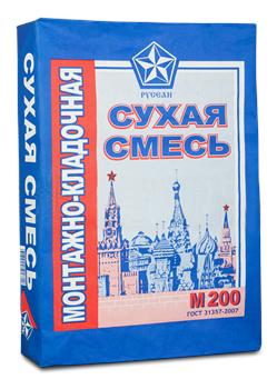 Монтажно-кладочная смесь РУСЕАН  М-200 (40 кг) - фото 8770