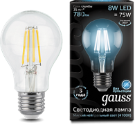 Лампа Gauss LED Filament A60 E27 8W 4100К