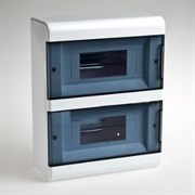 Щиток навесной пластиковый 18 модулей 2 прозрачные дверцы ТУСО